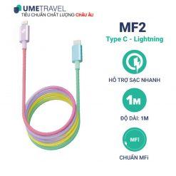 Cáp sạc Type C - Lightning MFI Umetravel MF2 Cầu Vồng